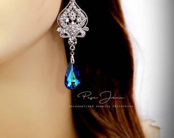 Wedding Earrings Swarovski Bermuda Blue Crystal Rhinestone Earrings Wedding Jewelry Bride earrings Bridal Earrings Bridal Jewelry Badge
