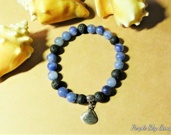 Natural Blue Aventurine & Lava Stone 8mm Meditation Custom Bracelet- Charm- Incl. 1ml Essential Oil, Reiki, PDF Information and Affirmation.
