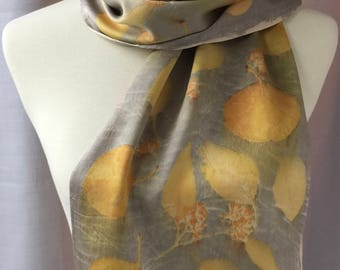 Handmade, eco printed silk satin scarf (S12)