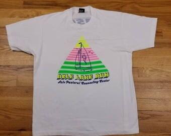 Vintage 80s Neon Vaporwave Single Stitch Crew Neck Sail Boat Azle Lake Run Marathon 90s T Shirt Size XL