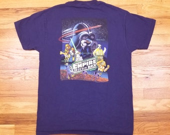 Vintage 90s 1996 Big Dog Star Wars Empire Bites Back Navy Vintage T-shirt Medium M