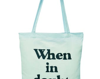 Cute 'When in doubt SHOP!' Mystic Blue cotton Tote Bag