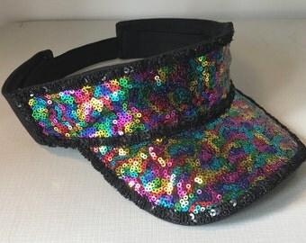 Black and Rainbow Sequin Sun Visor. Festival Visor Hat. Glastonbury. Coachella. Club Wear. Holiday. Playa. Fancy Dress. LGBT. Gay Pride.