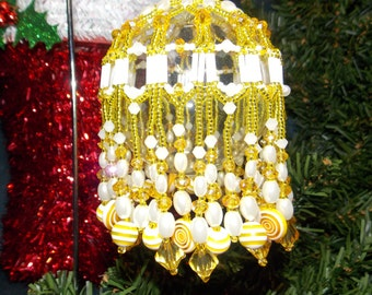 Yellow/White Beaded Ornament Cover