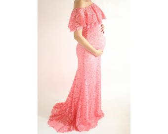 DALIA GOWN- Lace Fitted Maternity Gown, Maternity Photo Prop, Coral Maternity Maxi Dress, Baby Shower Dress, Ruffle Off Shoulder Dress