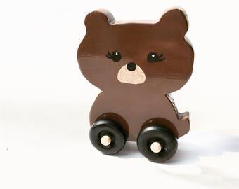 Wood bear toy, wooden toddler toy, preschooler toy, wooden push toy, wooden animal toy, toddler toy, montessori toys, toy car, waldorf toy