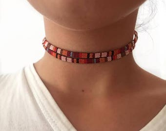 100% Cotton Colorful Choker Necklace, Summer Accessory
