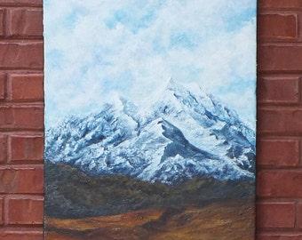 Denali original acrylic painting on ready to hang canvas of the Alaskan mountain Denali-Ready to hang 18x24