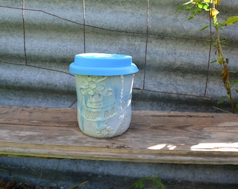 Re-usable Wheel Thrown Handmade Coffee Cup with Sealife Inpired Sculptural Details and Patterns