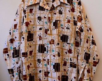 Vintage 1970s Disco Shirt Wide Collared