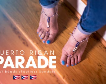 Puerto Rican Beaded Foot Sandal - Foot Beads - Anklets