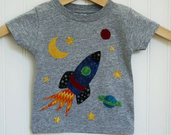Kids' Personalized, Appliquéd Rocket Ship Birthday Shirt