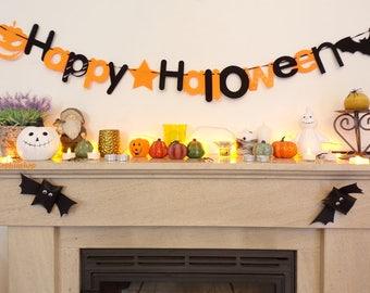 DIY Happy Halloween Banner, Halloween Decor Garland Halloween Party Halloween Decoration Orange & Black Decor, Fall Decor, Pumpkin Bat
