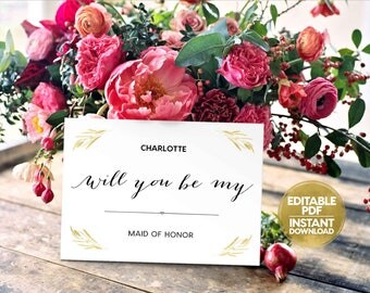 Editable PDF INSTANT DOWNLOAD Will You Be My Bridesmaid Maid of Honor Ask to be Flower Girl Wedding Digital Printable pdf Files WB7