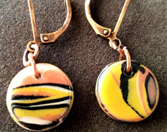 Abstract Modern Jewelry set, earrings and pendant necklace. Handmade. Polymer clay Mixed Media.