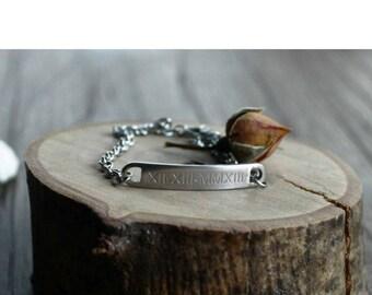 name bracelet // date bracelet // initial bracelet // bar bracelet // custom bracelet // custom hand stamped // children's names // mothers