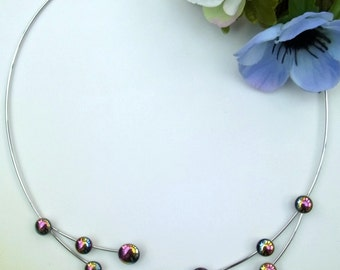 Rainbow haematite twister necklet
