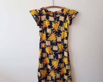 Dress / woman / floral / vintage / Navy Blue