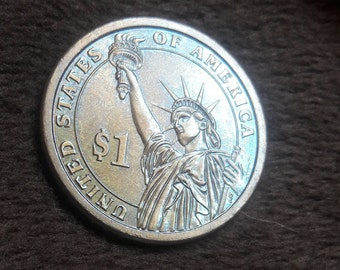 Blue Toned One Dollar Washington Coin.