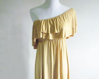 Olive Yellow Grecian Dress/ Grecian Gown