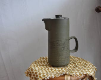 Vintage Denby Chevron deep green coffee/tea pot - large - retro, mid century