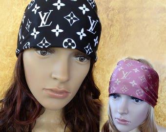 Stretch Headband Buff or infinity scarf with LV design. Black or Tan