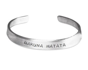 HAKUNA MATATA Cuff Bracelet - Disney Lion King Fan Gift - No Worries - Stamped Metal Bangle - One Size Fits All - Made in the U.S.A.