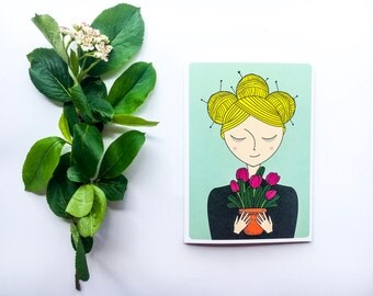 "Card ""Yarnhead"" with green background"
