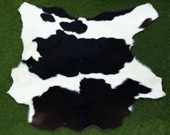 Black & White Cowhide Skin calf hide rug Leather 5 square feet calfskin Luxurious Quality