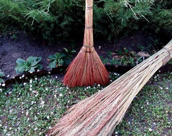 A sorghum eco broom handmade, besom, vintage style, eco-friendly, bio-degradable,witches broom