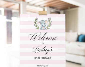 Welcome Sign Baby Shower, Elephant Themed Baby Shower Sign Printable, Pink Baby Shower Decorations, Welcome to the Baby Shower Sign PDF, LPE