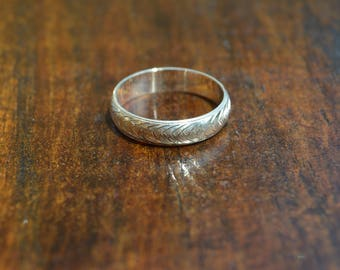 Hand Engraved Silver Woven Ring || US Size 5 || 4mm
