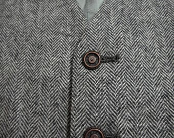 Vintage Wool TWEED Herringbone Vest sz 42 waistcoat WEDDING