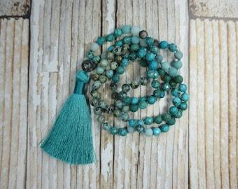 Amazonite and Turquoise Mala Beads, Japa Mala, Yoga Beads, Beaded Necklace, Turquoise Mala, Hand Knotted Mala, Japa Mala, 108 Mala Beads