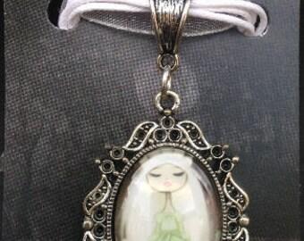 Goth Bride- Glass Cameo Necklace