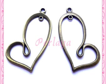 Set of 15 charms bronze hearts REFP1721X3 42mm