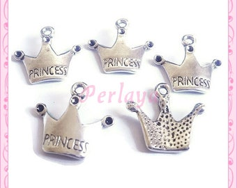 Set of 15 charms silver crowns REF062X3
