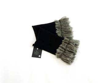 Cashmere black heart warmer with embroidered ruffle of grey organza-pleated