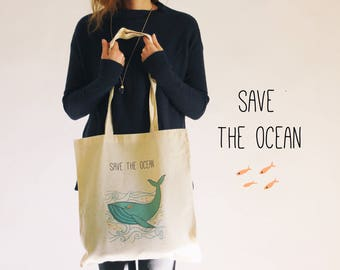 Tote bag, save the ocean, whale, gift, school bag