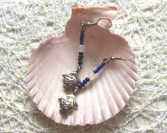 Summer sea cute fish blue earrings Light and elegant mermaids dangle drop cobalt blue silver sea animal ocean beach jewelry Gift for girl