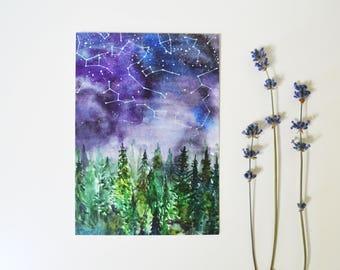 Art postcard forest print cute gift card night sky forest painting original gift card stars watercolor art starry sky artist postcard