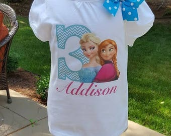 Frozen birthday Shirt!! Any age and name! sixe 2t 3t 4t 5t 6/6x 7/8 10/12 Anna and Elsa Birthday shirt  long or short sleeve
