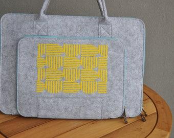 Laptop briefcase, Cute laptop sleeve, macbook pro 15, Laptop bag 15 inch, Macbook pouch, Grey Macbook bag, Laptop Tote bag, Felt laptop case