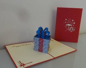 Silver Gift Box Happy Birthday Pop up Card (sku040)