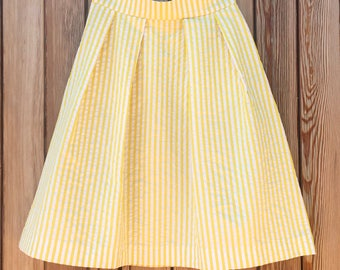 Striped cotton pleated skirt