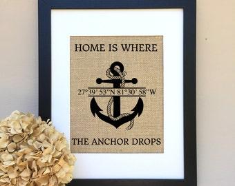 Beach Decor GIFT  Beach Wedding Gift Home is where the anchor drops Housewarming gift