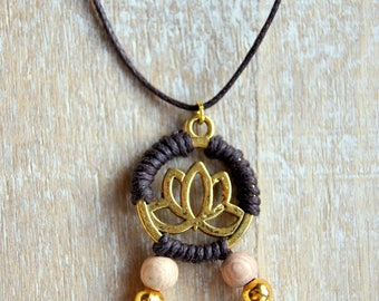 Lotus pendant gold and pink wooden beads