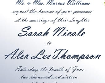 75pc custom PRINTED wedding invitations and response cards blue green floral