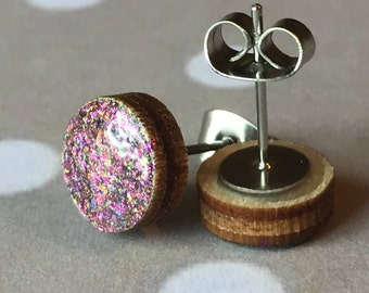 Stud Earrings // Purple and Blue Glitter Earrings  // Nail Polish Earrings