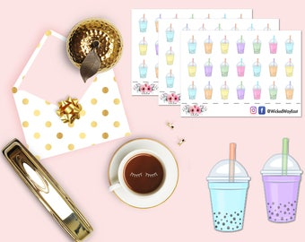 Boba Drink Planner Sticker, Boba Tea Stickers, Mini Planner Sticker, Scrapbook Sticker, Planner Accessories - 21 Stickers